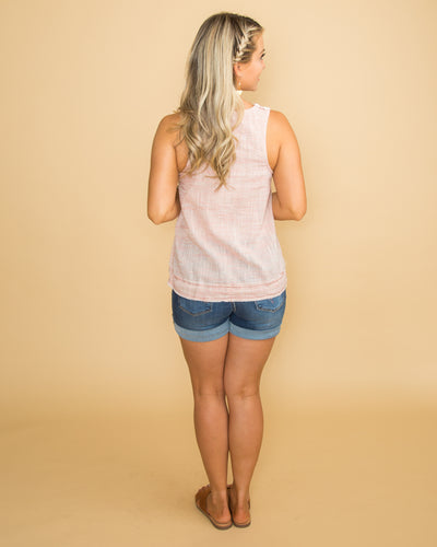 Waiting For Sunrise Drawstring Color-Block Tank - Off White