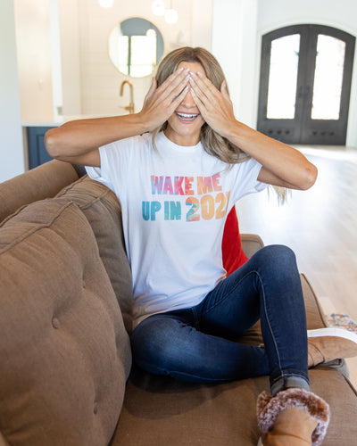 Wake Me Up in 2021 Graphic Tee - White