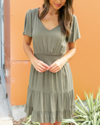 Walk Down Memory Lane Dress - Olive