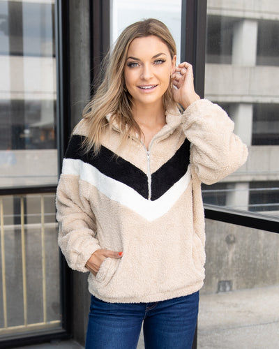 Warm Fuzzy Feelings Pullover - Taupe