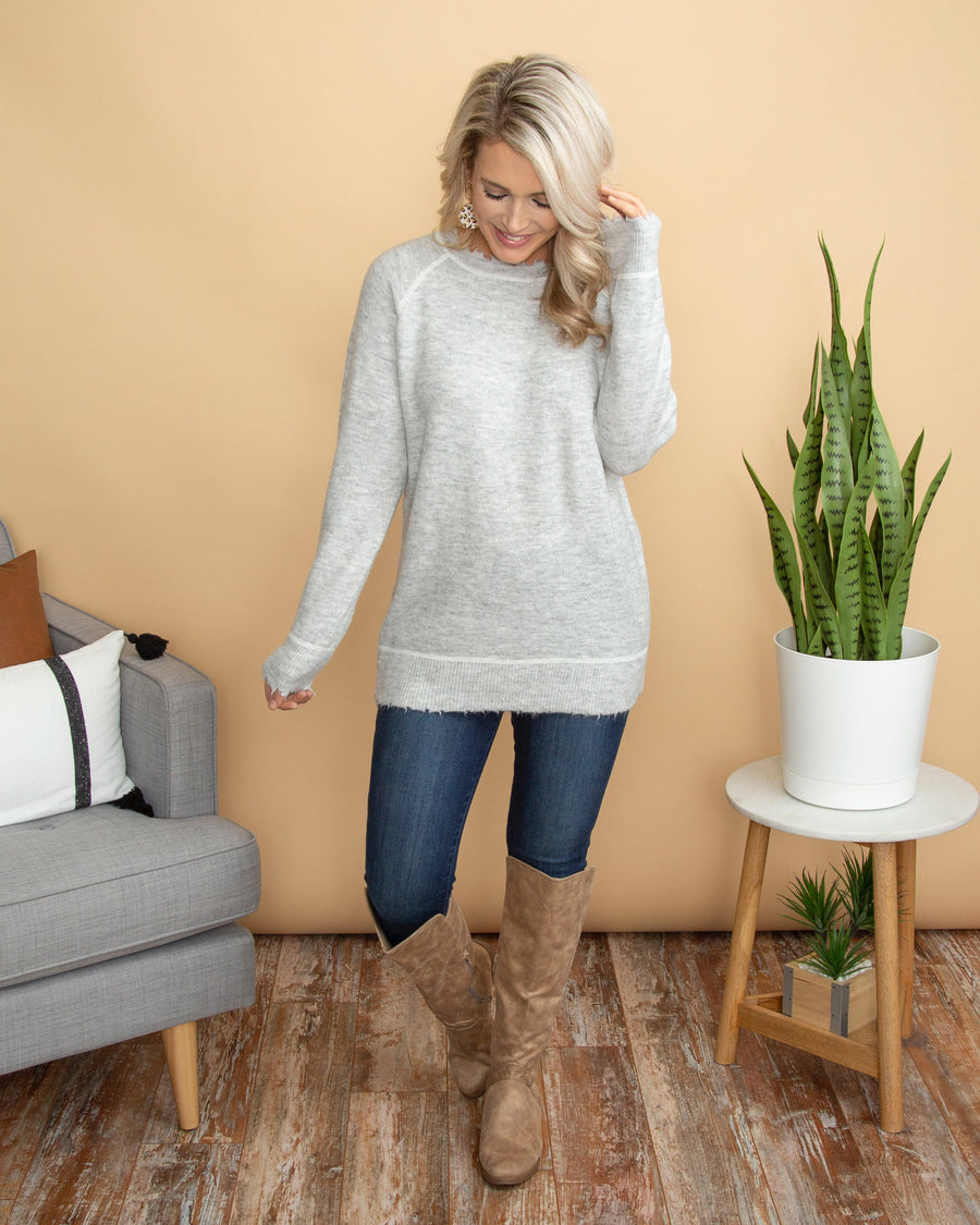 Warming Up To You Sweater - Heather Grey