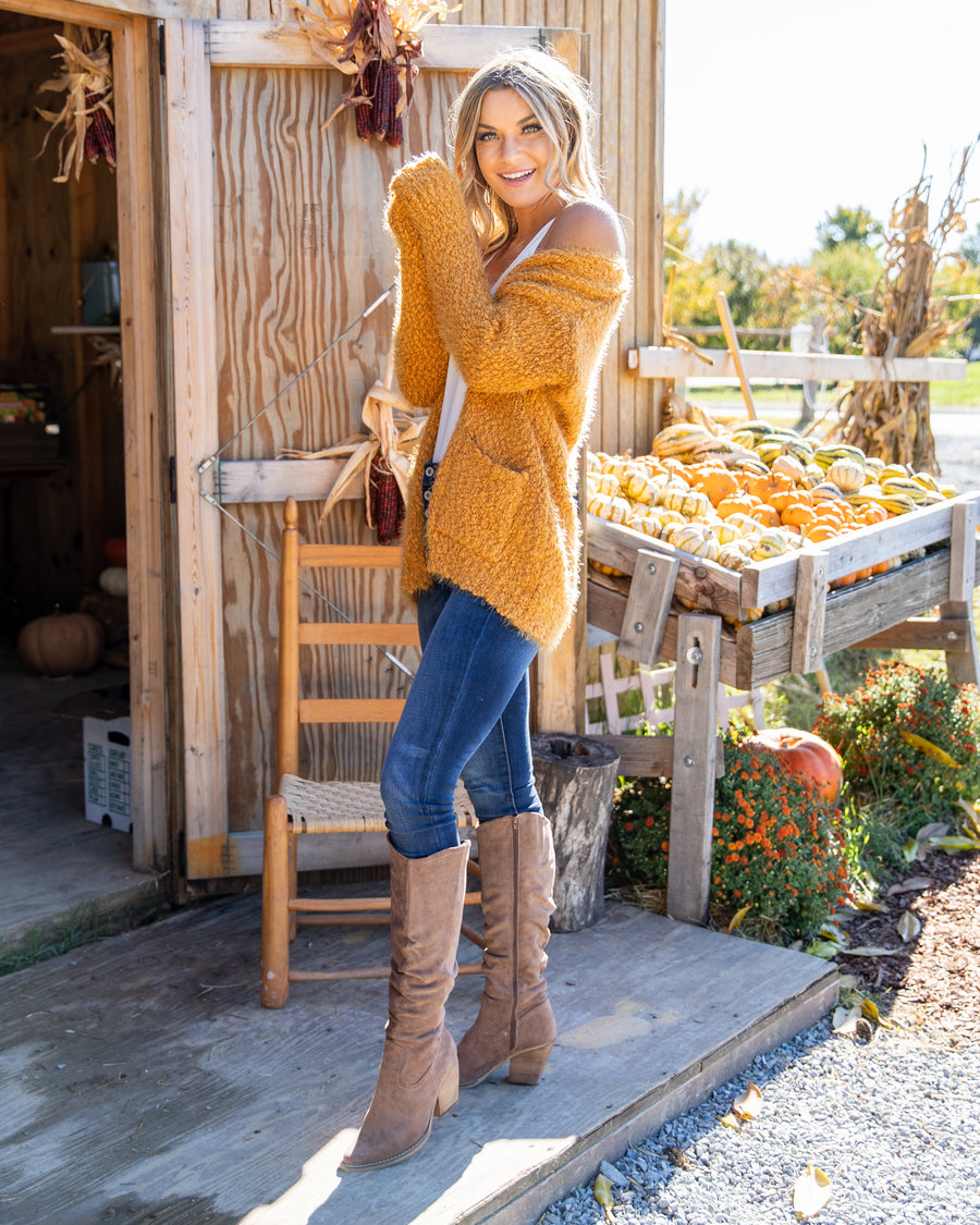 Way Out West Cardigan - Dark Mustard