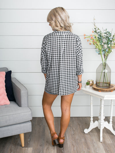 We Were Meant To Be Gingham Top - Black