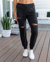 Weekend Chill Distressed Joggers - Black