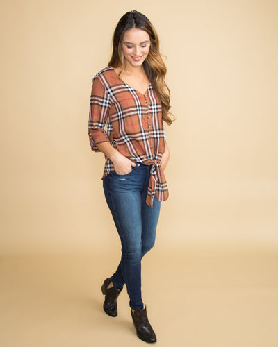 Weekends In Wine Country Plaid Tie-Front Top - Bourbon