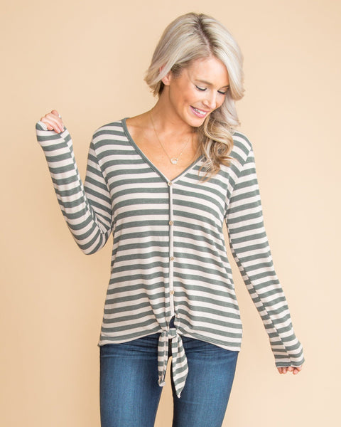 What About Us Stripe Tie-Front Top - Olive