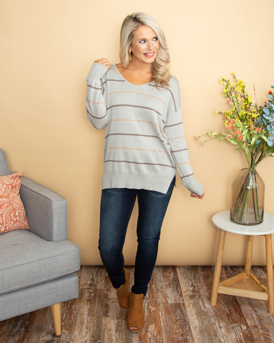 What Awaits Us Stripe V-Neck Top - Grey