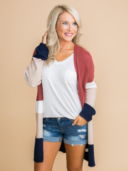 What Comes Naturally Color-Block Cardigan - Brick