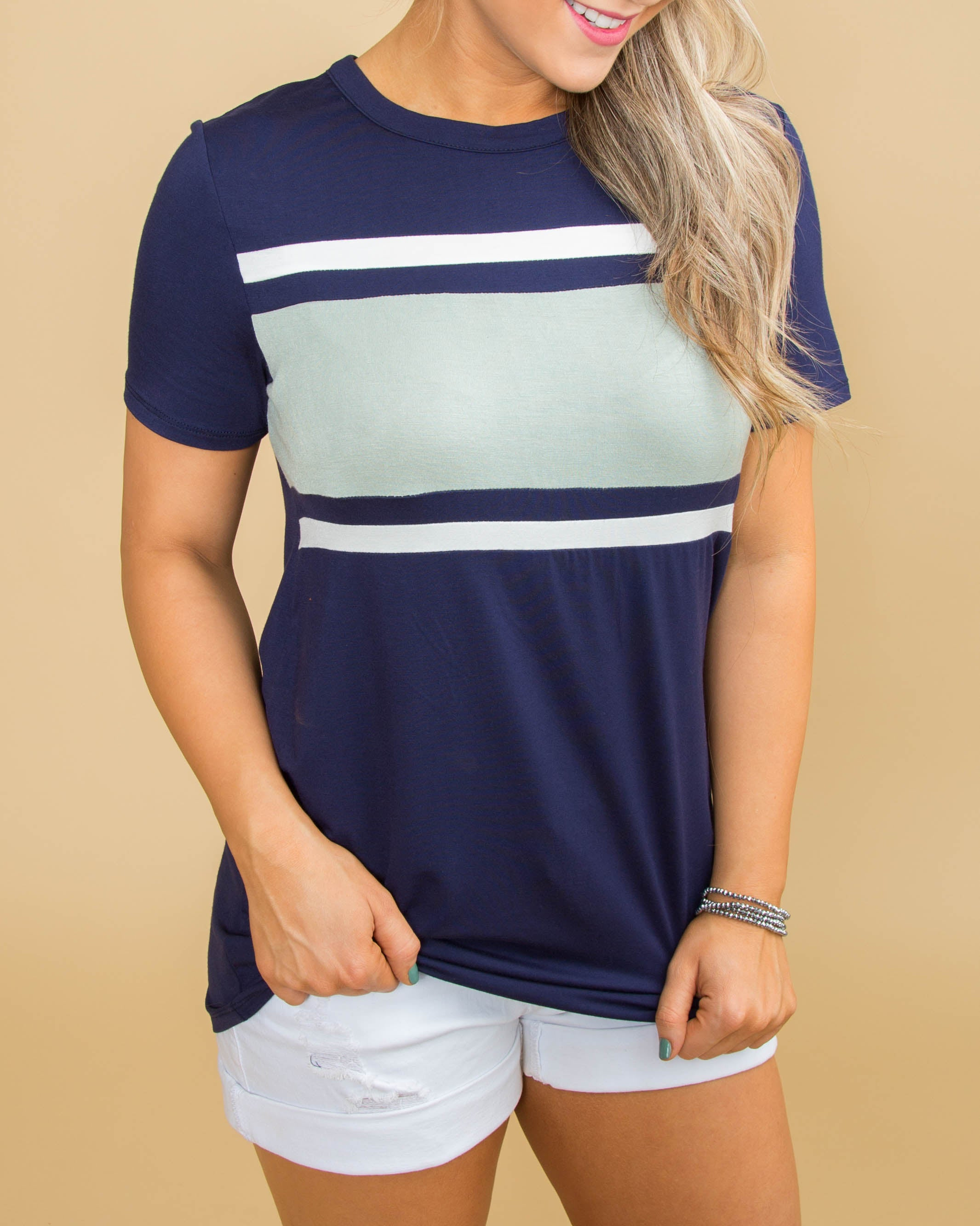 What I Love Color-Block Tee - Navy