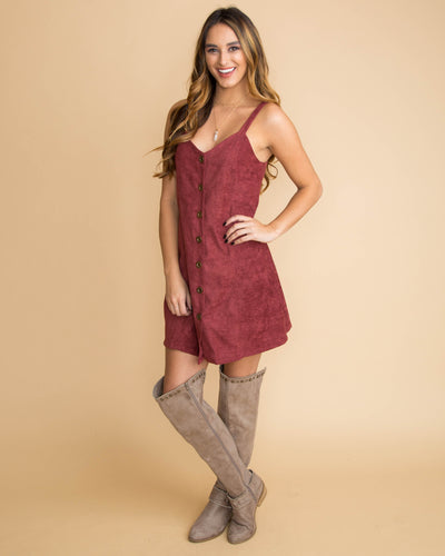 What It Seems Like Button Dress - Burgundy
