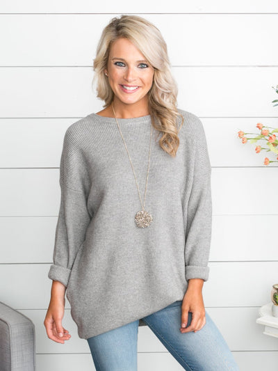 What Worked Best Oversized Sweater - Grey