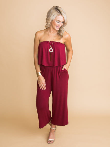 What You Can't Live Without Strapless Jumpsuit - Burgundy