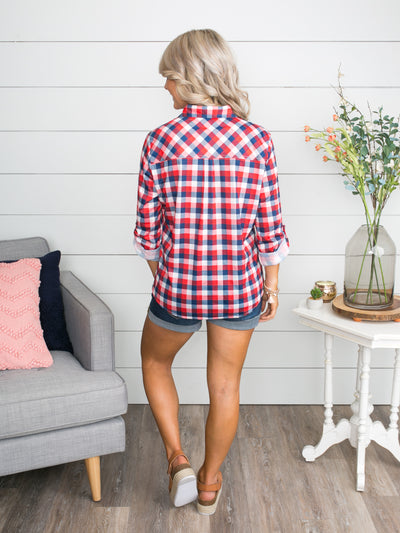 What You Leave Behind Plaid Button Up - Red