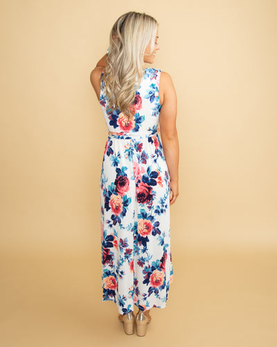 What's In The Past Floral High Low Dress - Off White