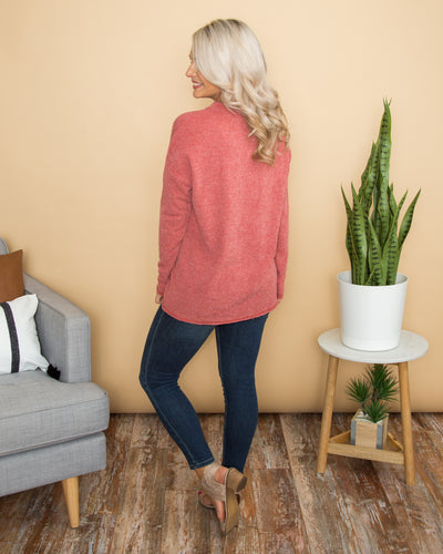 What's More Amazing Button Top - Heather Red
