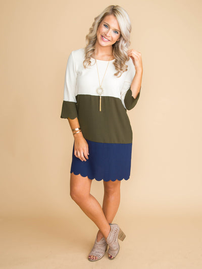 When I Needed You Color-Block Dress - Olive