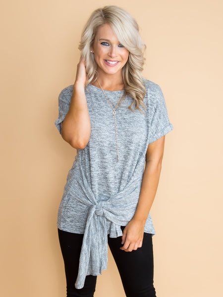 When It's The Right Time Knot Top - Heather Grey
