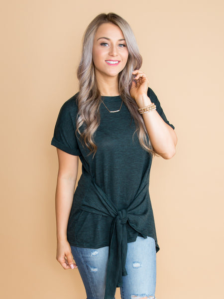 When It's The Right Time Knot Top - Heather Teal