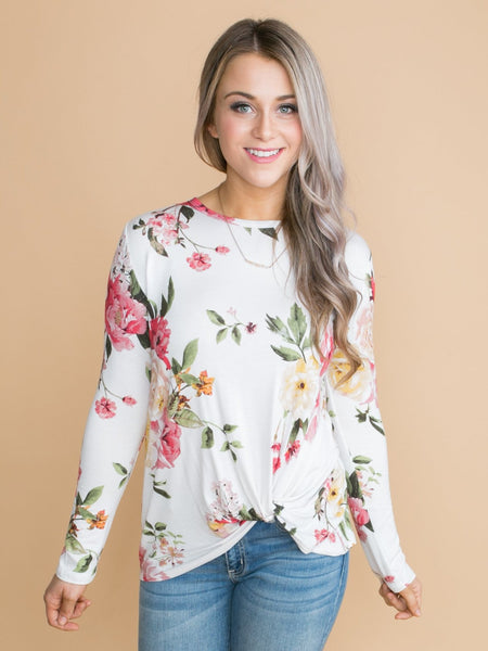 When You Smile Floral Knot Top - Off White