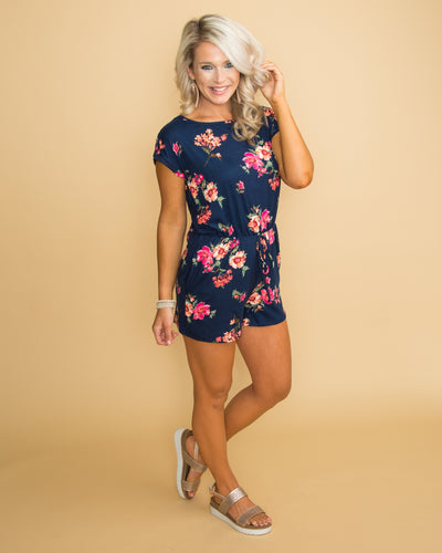Where Elegance Is Found Floral Romper - Navy