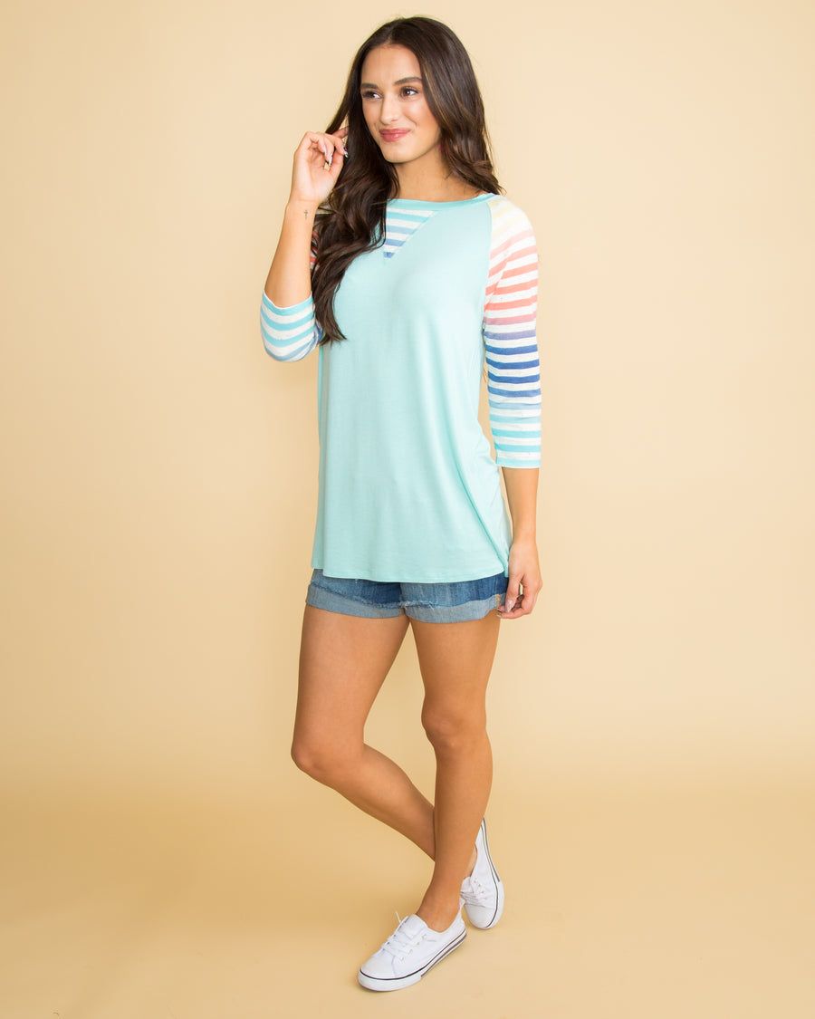 Where The Fun Begins Color-Block Stripe Top - Aqua