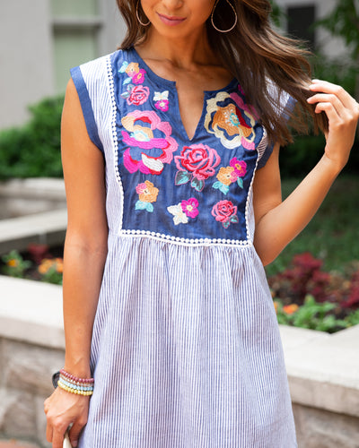 Whirl Me Away Embroidered Dress - Denim Blue