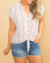 Whisper Sweet Nothings Stripe Button Knot Top - Multi