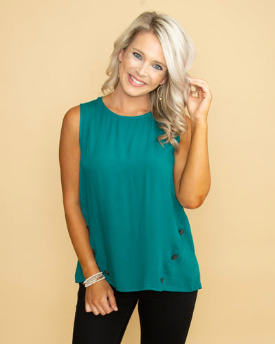 Whispers Of Love Button Top - Dark Teal