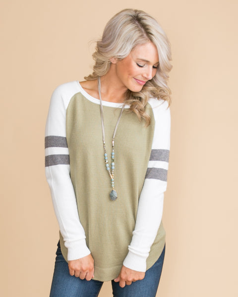 Who You Think Of Color-Block Top - Lt. Olive