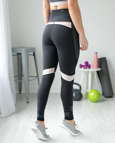 Who's The Competition Color-Block Legging - Grey/Taupe