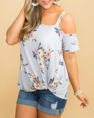 Wild At Heart Floral One Shoulder Top - Lt Lilac