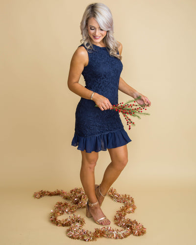 Winter's Romance Lace Dress - Navy