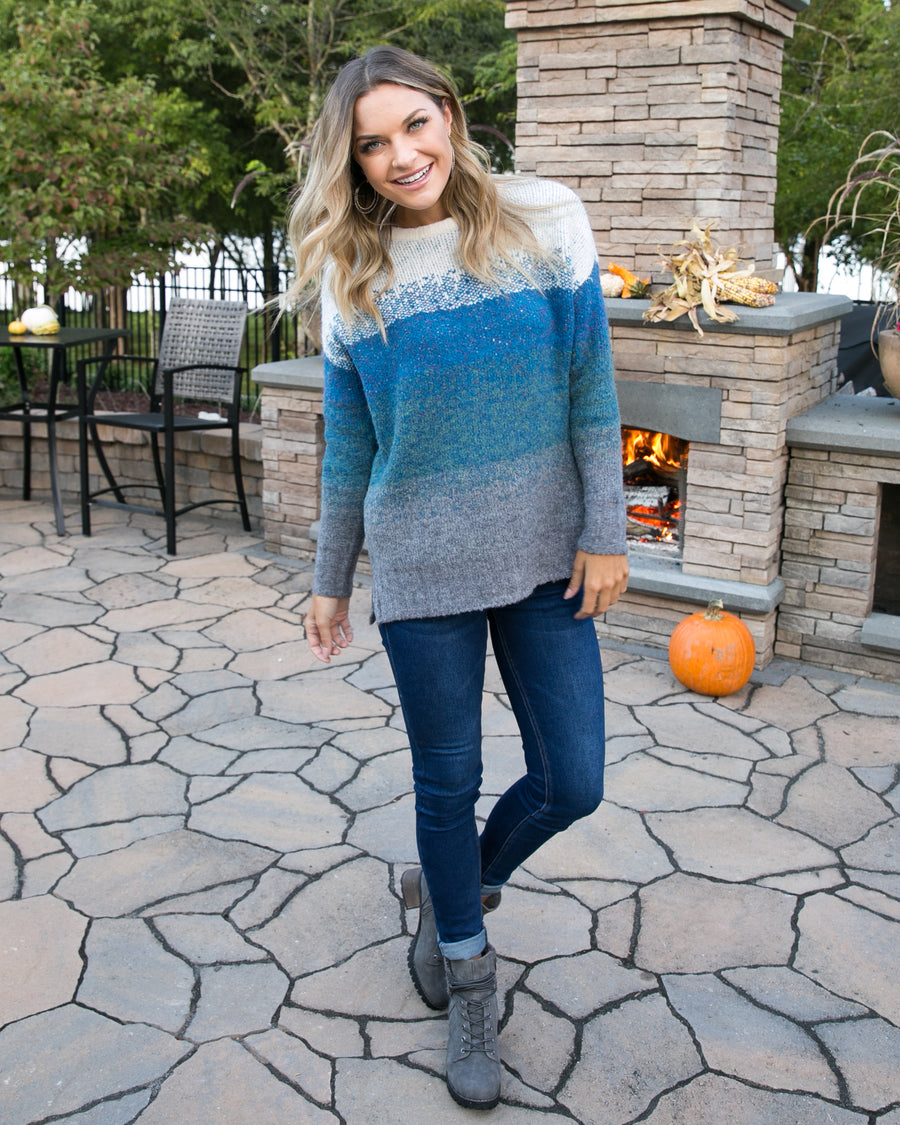 Wishing For The Weekend Sweater - Blue Multi
