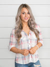 You Belong With Me Plaid Button Up - Lt Pink