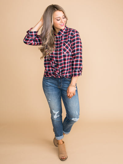 You Have My Heart Plaid Top - Navy