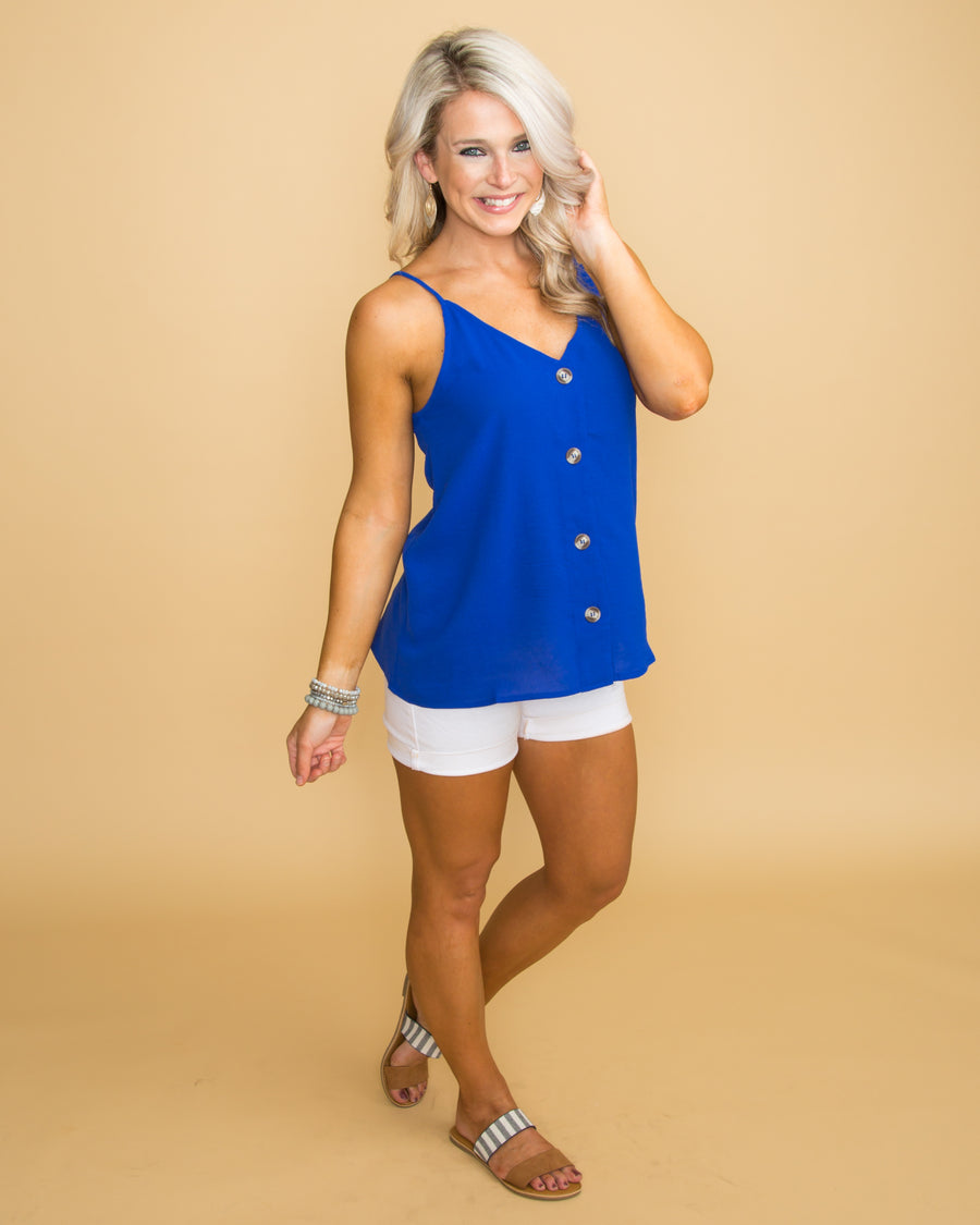You Make It Easy Button Tank - Cobalt