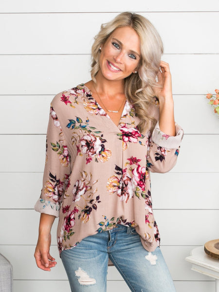 You'll Never Lose Me Floral Top - Taupe