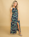 You're Still The One Floral Halter Dress - Navy