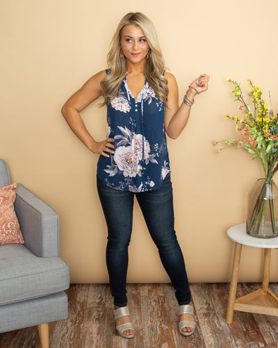 Your Favorite Memory Floral Button Top - Dusty Navy