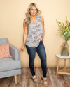 Your Favorite Memory Floral Button Top - Lt Grey