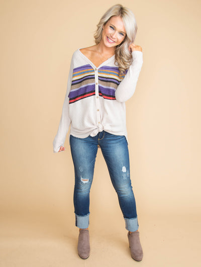 Your Way Waffle Knit Stripe Knot Top - Almond