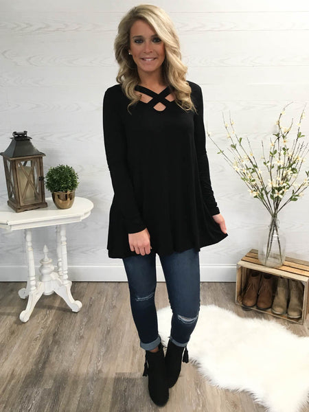 Day To Night Cross Tunic - Black