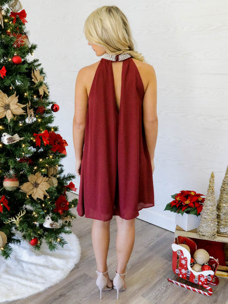 Mistletoe Wishes Dress - Wine