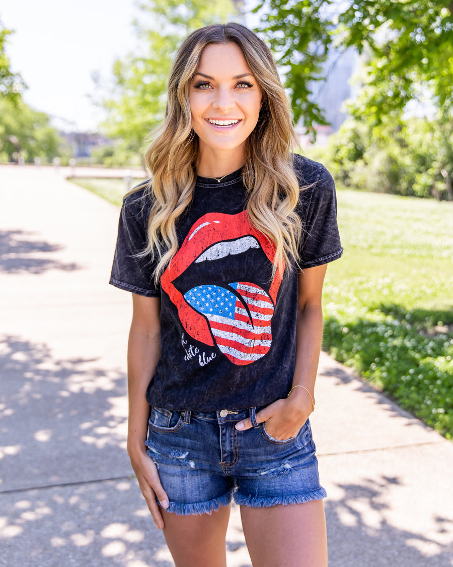 Red, White, And Blue Lips Graphic Tee - Vintage Black