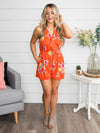 Turks And Caicos Floral Romper - Poppy Red