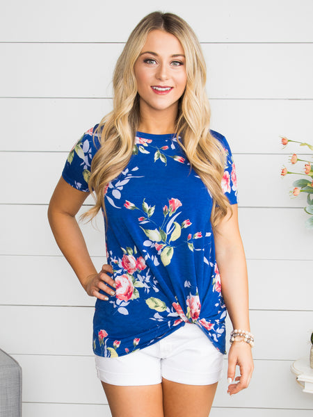 What's Knot To Love Floral Top - Cobalt