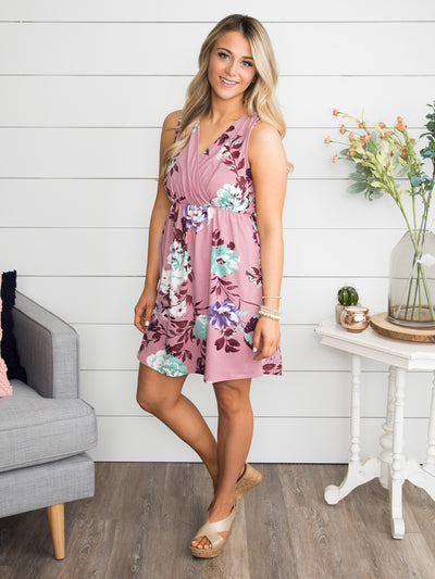 Rose Valley Floral Print Dress - Dusty Rose