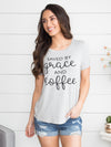 Saved By Grace And Coffee Graphic Tee - Grey