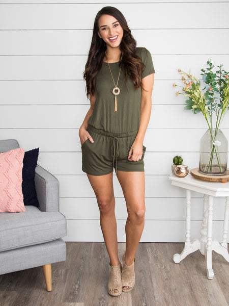 Tell Me What You're Feeling Romper - Olive