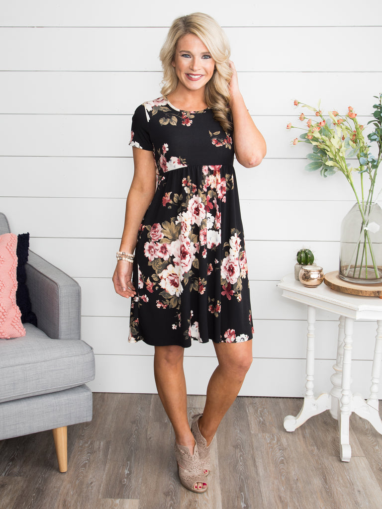 Just To Make You Happy Floral Dress - Black